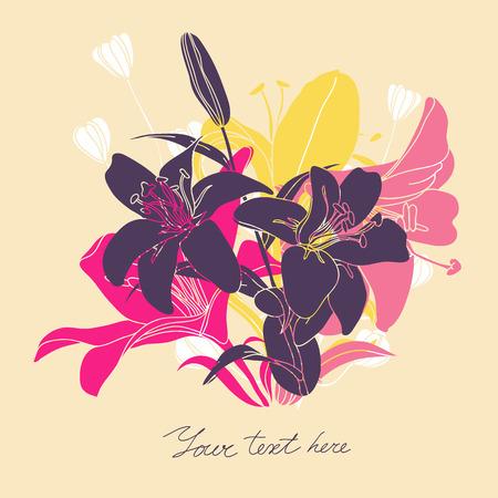 Vector carta floreale con posto per il testo. Elegante sfondo con fiori. Archivio Fotografico - 42440791