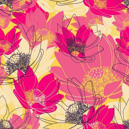 Vector nahtlose Blumenmuster. Endless Textur mit Blumen.