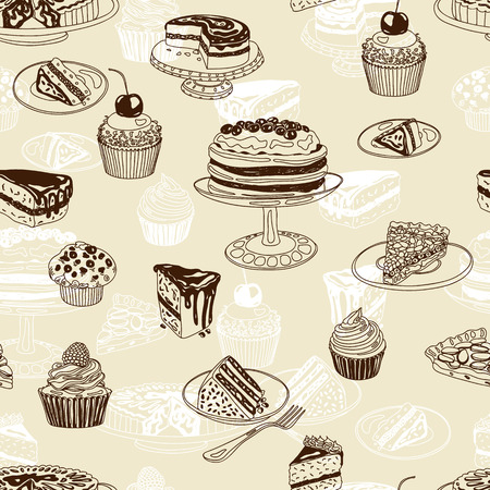 patten: Vector seamless patten with party pastry and sweets. Hand drawn illustration with Cakes and cupcakes. Teatime. Illustration