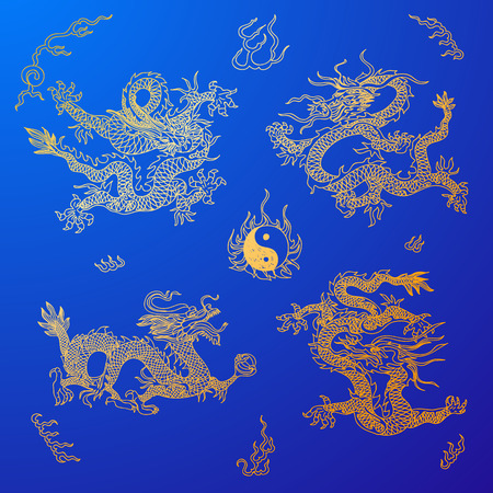 Vector background with asia dragons. Hand drawn illustration. Sketch. Ilustrace