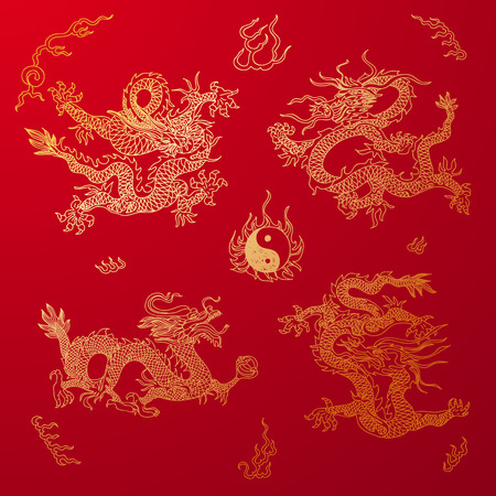 Vector background with asia dragons. Hand drawn illustration. Sketch. Ilustração