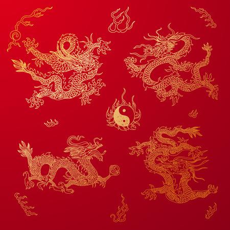 dragones: Vector de fondo con dragones asia. Dibujado a mano ilustración. Sketch.
