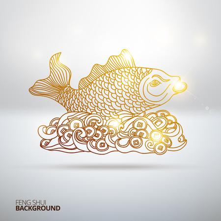 shui: Illustrazione vettoriale con Feng Shui pesce. Disegnata a mano illustrazione. Sketch. Vettoriali