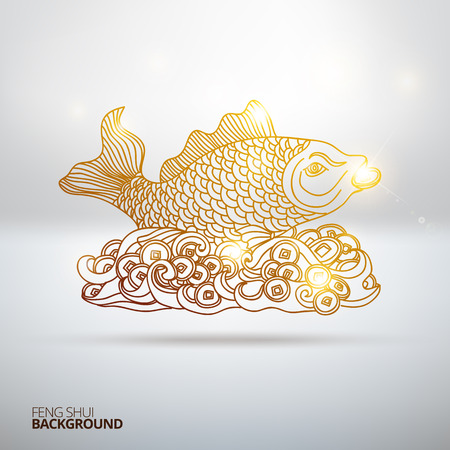 Vector illustration with Feng Shui fish.  Hand drawn illustration. Sketch.