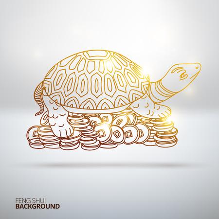 ベクトル風水亀のイラスト。手描きのイラスト。スケッチ。