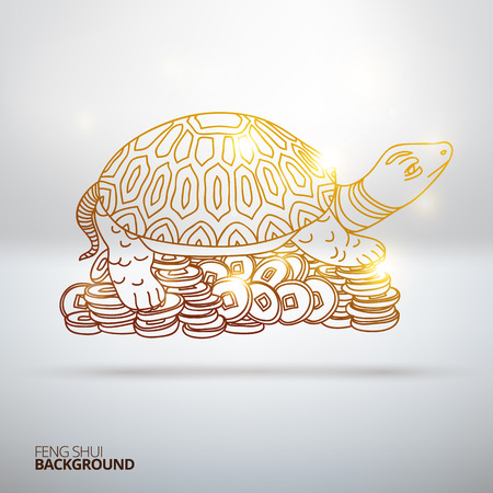 feng: Vector illustration with Feng Shui turtle. Hand drawn illustration. Sketch. Illustration