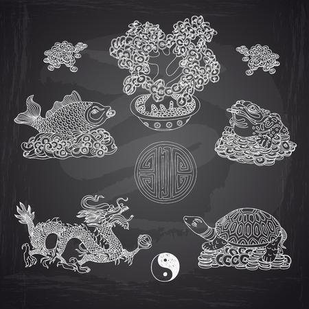 Vector illustration set with Feng Shui motives. Dragon, frog, fish and money tree. Illustration