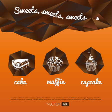 muffins: Vector sweet background. Hand drawn illustration with cupcakes, muffins and cakes. Menu for restaurant and cafe