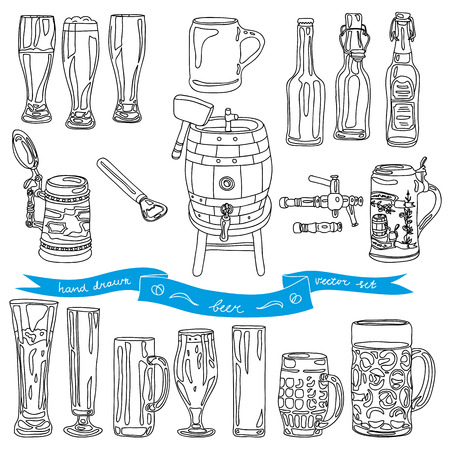 keg: Vector collection of beer glasses and bottles icons. Hand drawn Illustration with beer glasses, beer bottles and beer keg. Illustration