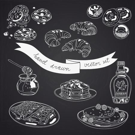 chocolate brownie: Vector collection of pie, cakes and sweets icons. Hand drawn illustration with Cakes and cupcakes. Teatime set.Chalkboard design.