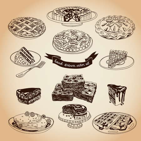 brownie: Vector collection of pie, cakes and sweets icons. Hand drawn illustration with Cakes and cupcakes. Teatime set.