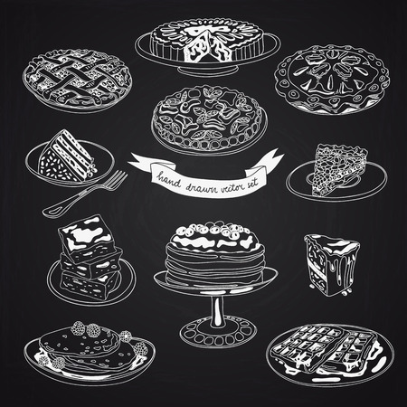 Vector collection of pie, cakes and sweets icons. Hand drawn illustration with Cakes and cupcakes. Teatime set.Chalkboard design.