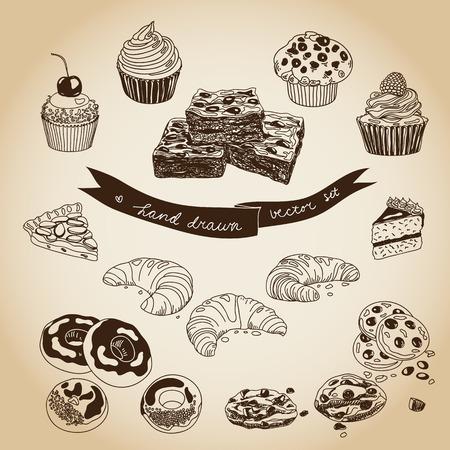 magdalenas: Colección de vector de la empanada, pasteles y dulces iconos. Dibujado a mano ilustración con tortas y cupcakes. Conjunto de la hora del té.