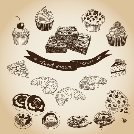 Vector collection of pie, cakes and sweets icons. Hand drawn illustration with Cakes and cupcakes. Teatime set.