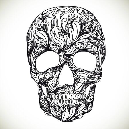 vector ornament: Vector illustration with Hand Drawn Skull. Day of The Dead colorful Skull with ornament.