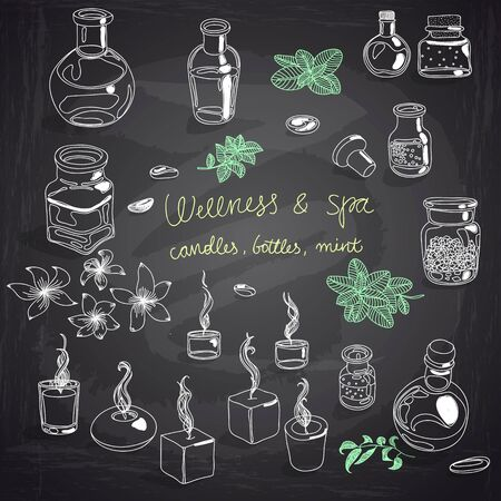 fragrance: Vector illustration set with wellness and spa motives. candles, bottles with massage oil, mint and jasmine flower. Chalk Board.