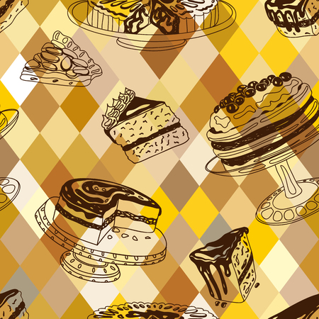 teatime: Vector seamless patten with party pastry and sweets. Hand drawn illustration with Cakes and cupcakes. Teatime. Illustration