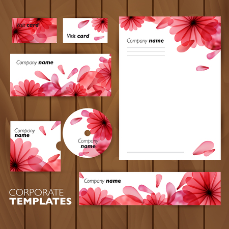 letter head: Corporate identity business set design. Abstract background with flowers. Vector illustration.