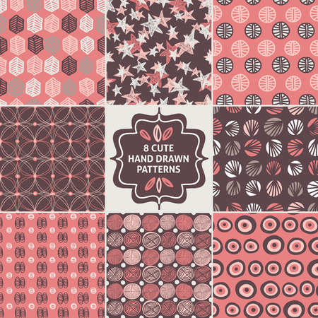 uncomplicated: Vector seamless simple pattern set. Modern stylish texture. Repeating abstract background.