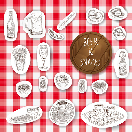 snacks: Hand drawn vector illustration. Beer and snacks set. Vintage. Sketch.
