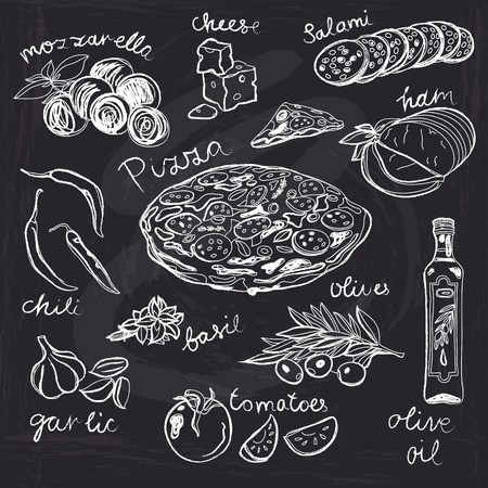 italian pizza: Hand drawn vector illustration. Pizza set. Vintage. Sketch. Chalkboard.