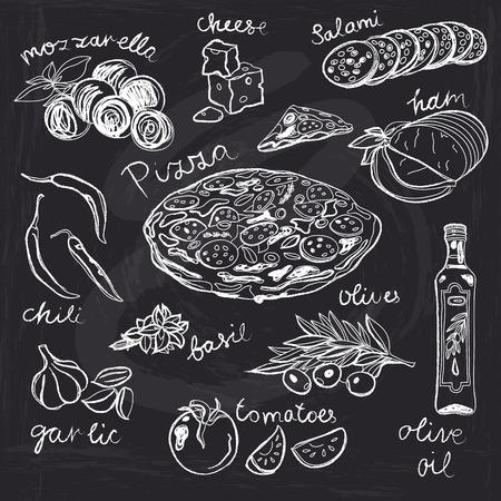 Tiré par la main illustration vectorielle. Jeu de Pizza. Cru. Esquisser. Tableau. Vecteurs