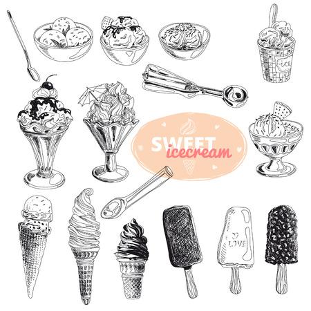 手には、アイスクリーム入りのベクトル図が描かれました。ヴィンテージ。スケッチ。
