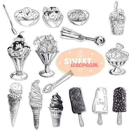 Hand drawn vector illustration set with ice Cream. Vintage. Sketch.