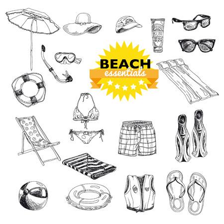 flops: Hand drawn vector illustration. Beach essentials set. Vintage. Sketch. Illustration