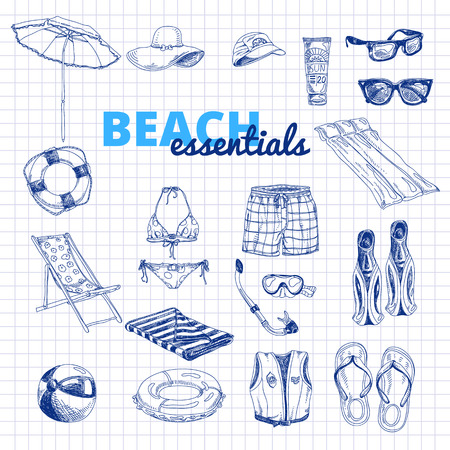 cartoon umbrella: Hand drawn vector illustration. Beach essentials set. Vintage. Sketch. Illustration