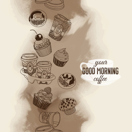 boarder: Vector seamless boarder with coffee and sweets. Hand drawn vector illustration. Good morning Vintage Card.