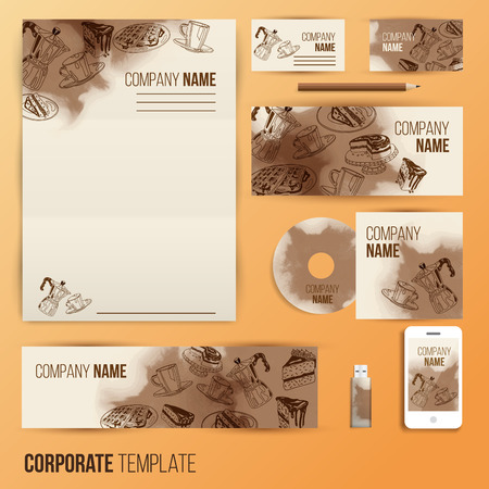 letter head: Corporate identity business set design. Abstract background with vintage party pastry, cakes and sweets. Vector illustration. Illustration