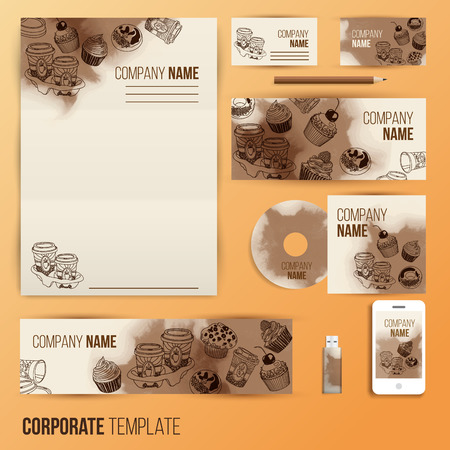 pastries: Corporate identity business set design. Abstract background with vintage party pastry, cakes and sweets. Vector illustration. Illustration