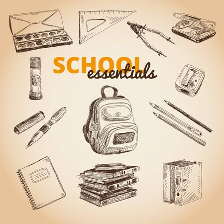 stapling: Vector set of school items. Hand drawn Illustration. Back to School. School essential illustration.