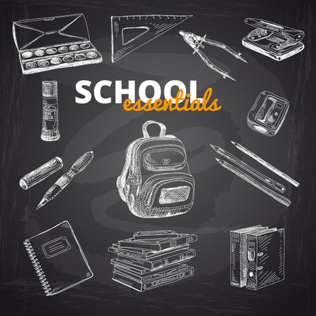 school books: Vector set of school items on a chalkboard. Hand drawn Illustration. Back to School. School essential illustration.