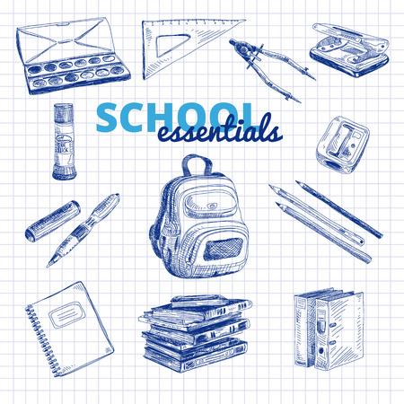stapling: Vector set of school items. Hand drawn Illustration. Back to School. School essential illustration.