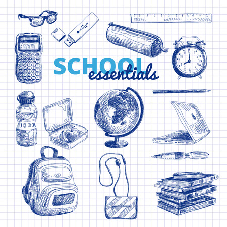 backpack: Vector set of school items. Hand drawn Illustration. Back to School. School essential illustration.