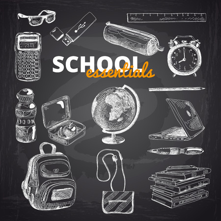 stapling: Vector set of school items on a chalkboard. Hand drawn Illustration. Back to School. School essential illustration.