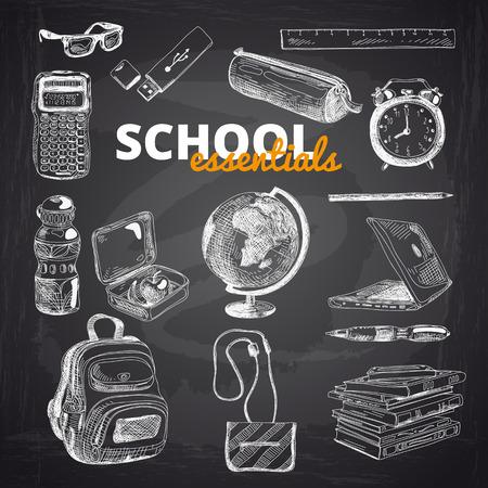 Vector serie di articoli per la scuola su una lavagna. Disegnato a mano illustrazione. Di nuovo a scuola. Scuola illustrazione essenziale.