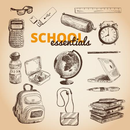 Vector set of school items. Hand drawn Illustration. Back to School. School essential illustration.