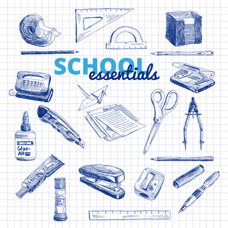 paper punch: Vector set of school items. Hand drawn Illustration. Back to School. School essential illustration.