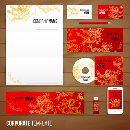 Corporate identity business set design with asia dragons. Abstract background. Vector illustration.Hand drawn illustration. Sketch. Vettoriali