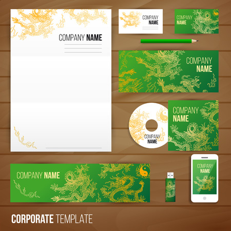 Corporate identity business set design with asia dragons. Abstract background. Vector illustration.Hand drawn illustration. Sketch. Illustration