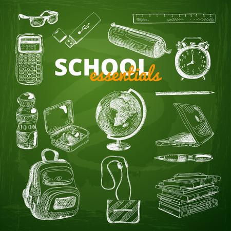Vector set of school items on a chalkboard. Hand drawn Illustration. Back to School. School essential illustration.
