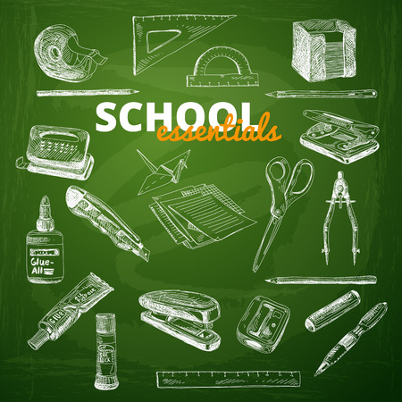 paper punch: Vector set of school items on a chalkboard. Hand drawn Illustration. Back to School. School essential illustration.