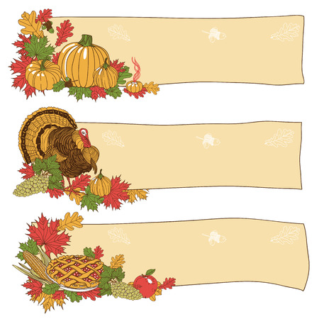Vector hand drawn Thanksgiving background. Thanksgiving banner. Illustration