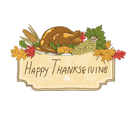 hand drawn frame: Vector hand drawn Thanksgiving background. Thanksgiving banner. Illustration