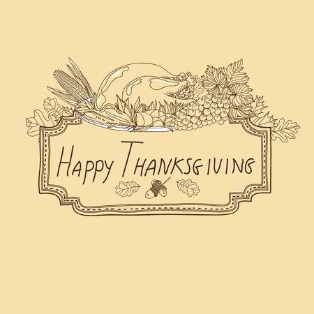 elote caricatura: Vector dibujado a mano de fondo de acción de gracias. Bandera de Acción de Gracias.