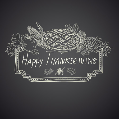cranberry illustration: Vector hand drawn Thanksgiving background. Thanksgiving banner. Illustration