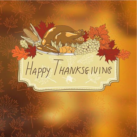 cartoon autumn: Vector hand drawn Thanksgiving background. Thanksgiving banner. Illustration